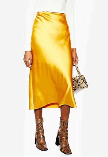 TOPSHOP 黃色 綢緞裙 6ADDEAA917BB4AGS_1