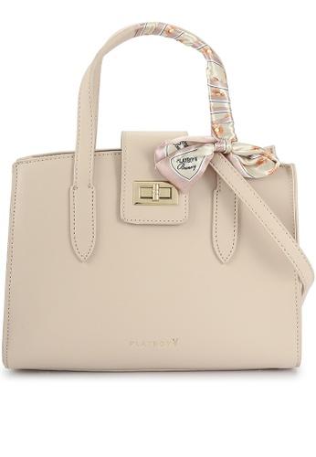PLAYBOY BUNNY orange Top Handle Sling Bag with Scarf 06274AC96837E3GS_1