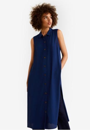 Mango blue Side Slit Long Dress 60760AA0D59D88GS_1