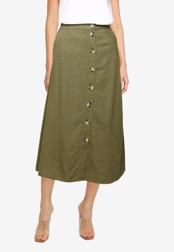 KOTON 綠色 Button Front Midi Skirt A07DEAAF9FF377GS_1