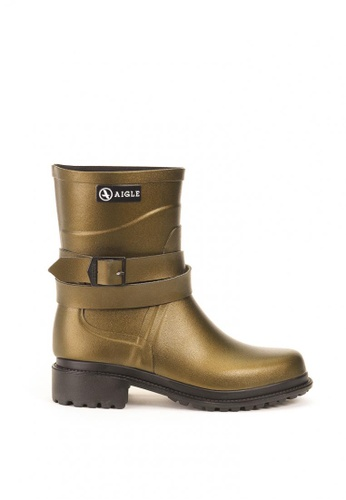 Aigle brown and gold Macadames Mid Rubber Boots DDE15SHB3428FEGS_1