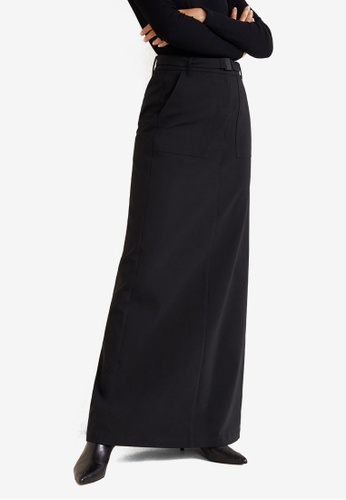 Mango black Belt Long Skirt 980B1AA5539F29GS_1