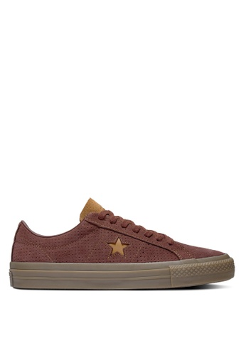 Converse brown One Star Pro Washed Suede Ox Sneakers A25ACSH0483D0BGS_1