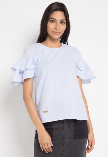 Lois Jeans blue Stripe Ruffle Blouse B63B4AAD3BE451GS_1