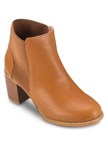 Briszalora taiwan 時尚購物網tol 彈性粗跟踝靴, 女鞋, 鞋