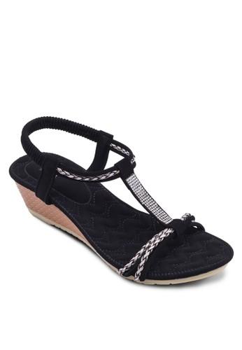 T字帶繞踝厚底涼鞋, 女鞋, 楔zalora 心得形涼鞋