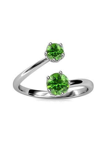 Her Jewellery green Birth Stone Ring (August) - Made with premium grade crystals from Austria 05F37ACA67620CGS_1