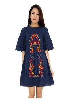 1b17763e604 MOONRIVER Isabella Embroidery Floral Bell Shape Sleeve Dress  42C8DAA5451273GS 1