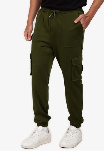 ZALORA BASICS green Slim-Fit Cargo Jogger Pants 7DA81AAD9928C4GS_1