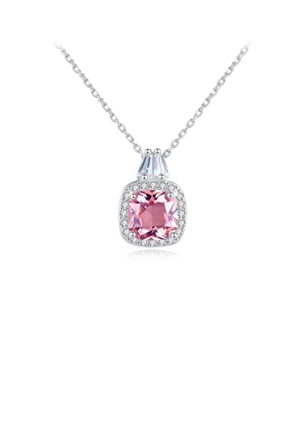 Glamorousky white 925 Sterling Silver Fashion Elegant Geometric Square Pink Cubic Zirconia Pendant with Necklace FE203AC1CD5532GS_1