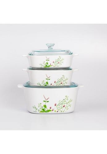 Corningware white Corningware 6pcs Square Casserole Set With Glass Cover - Provence Garden 1BE9CHL72FCD8BGS_1