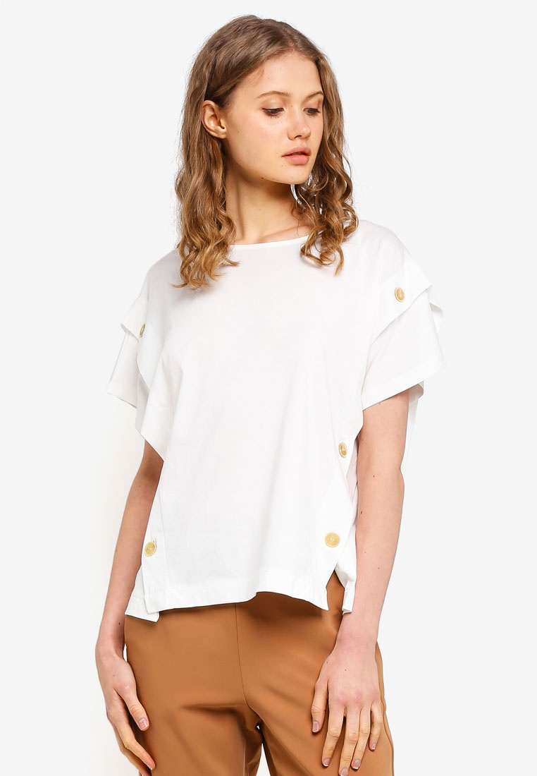 Short Button T Shirt Sleeve White Off ESPRIT ZzqawPTT