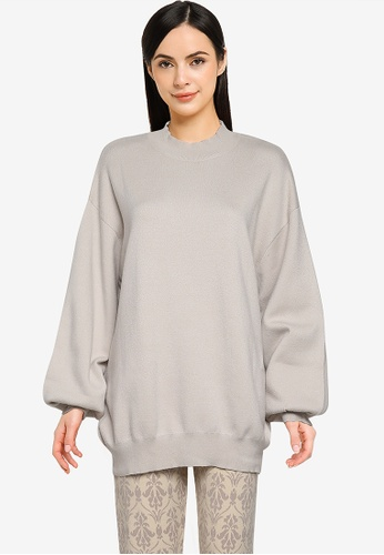 Heather beige Oversized Knit Sweater CD053AAEDB7ED6GS_1
