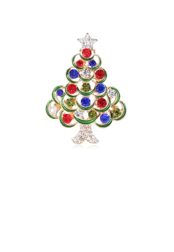 Glamorousky silver Fashion Creative Plated Gold Color Christmas Tree Brooch with Cubic Zirconia EB9BEACA5A96E9GS_1