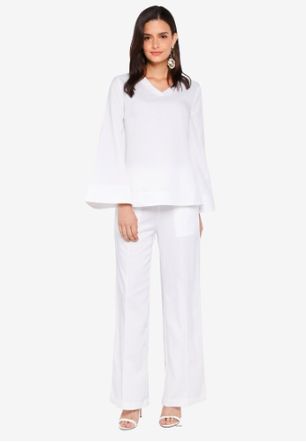 Lubna white V-Neck Co-Ord Set DC2FAAA95C0061GS_1