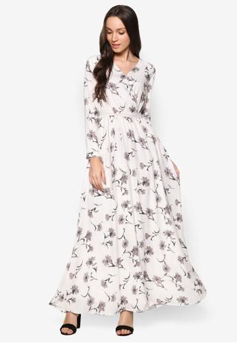 印esprit暢貨中心花長袖長洋裝, 服飾, 洋裝