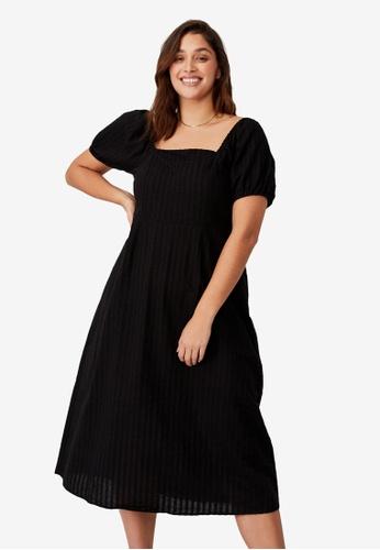 Cotton On black Plus Size Sara Square Neck Midi Dress 92C44AA17771FCGS_1