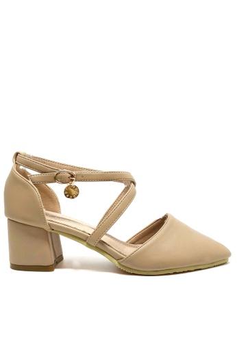 Twenty Eight Shoes beige Cross Strap Mid Heel 546-151 B34C6SH41E872AGS_1