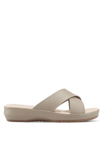 Bata 褐色 交叉繞帶楔型涼鞋 D1DD4SH337BEE0GS_1