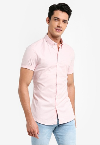 Topman pink Short Sleeve Pink And White Oxford Muscle Fit Shirt D8A41AAE34DDFBGS_1