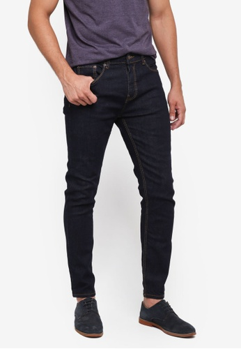 Burton Menswear London navy Tapered Raw Jeans 855BDAA19B1E67GS_1