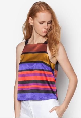 撞色條紋削肩zalora 心得上衣, 服飾, 服飾