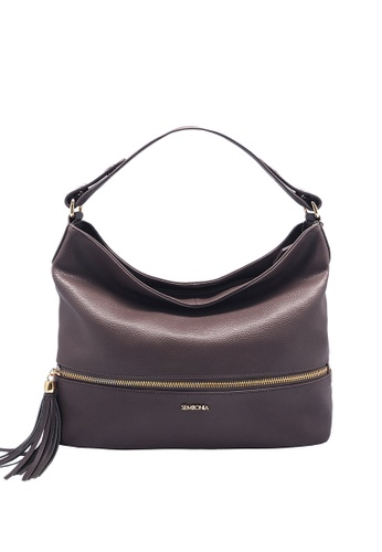 SEMBONIA purple Large Pebbled Leather Hobo Shoulder Bag 4A3EEACCDA6DF0GS_1