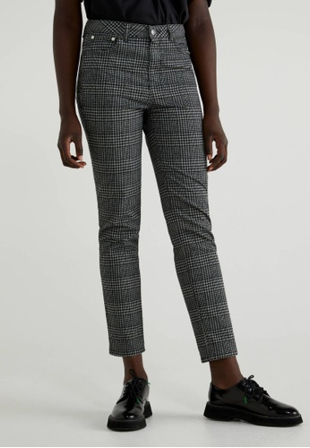 United Colors of Benetton grey Straight Check Trousers 8AB38AA152E3D1GS_1