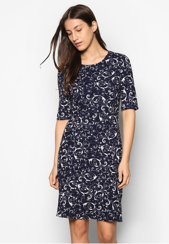 ZALORA navy Collection Fluted Hem Dress ATALTAA0000050GS_1