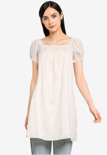 Cotton On beige Woven Erica Short Sleeves Mini Tunic 2DF8CAA2CA04EAGS_1