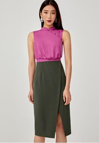 Love, Bonito green Enyana Mandarin Collar Midi Dress F9ED9AA73DC089GS_1