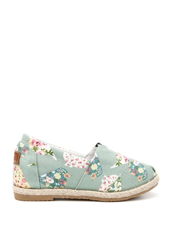 KissXXX 多色 花朵鳥兒圖樣美腿效果5CM內增高帆布休閒鞋 KI603SH09OFMTW_1