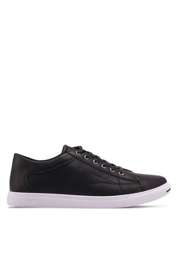 ZALORA black Perforated Faux Leather Sneakers F11A5SH679B97EGS_1