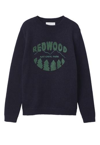 MANGO KIDS blue and navy Textured Sweater 83862KA7D00EB1GS_1