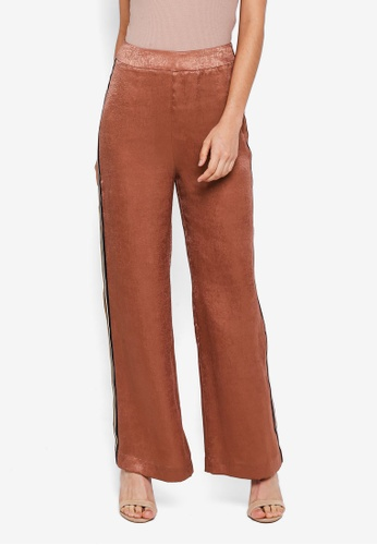 Lubna brown Side Ribbon Straight Cut Pants A7906AA49A7B56GS_1