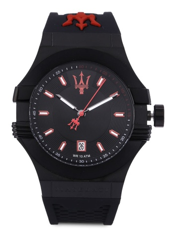 Maserati black Potenza 45mm Men's Silicone Strap Watch MA410AC57HIGMY_1