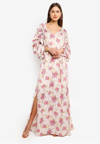 Mango pink Ruched Sleeve Floral Dress F9F23AAE106FF8GS_1