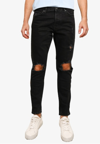 Topman black Washed Black Extreme Blowout Skinny Jeans 85336AA8F2A4CCGS_1