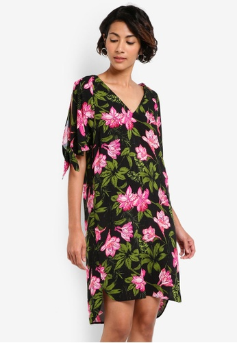 Dorothy Perkins multi Tropical Tie Sleeve Shift Dress DO816AA41BAKMY_1