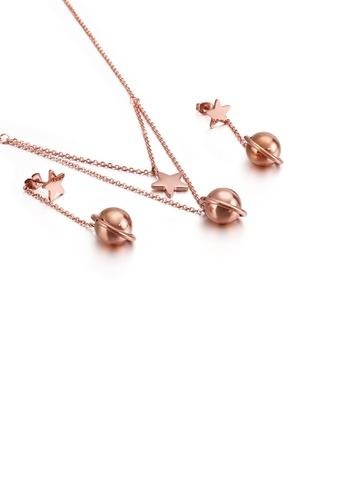 Glamorousky 銀色 簡約創意鍍玫瑰金星星圓球316L鋼項鏈和耳環套裝 92E71AC4F220C4GS_1