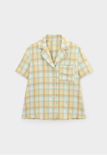 Pomelo yellow Plaid Front Pocket Shirt - Yellow F90C5AADB357FBGS_1