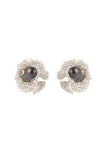 BIRRU JEWELRY silver Crochet Earring Black Baroque Silver 2B6B3AC138D357GS_1