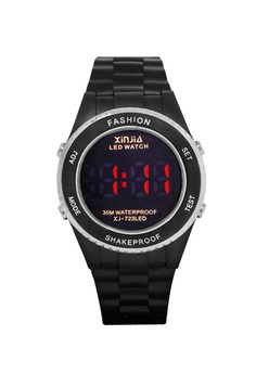 XINJIA Sports Digital Men's Black/Silver Resin Strap Watch 723LED