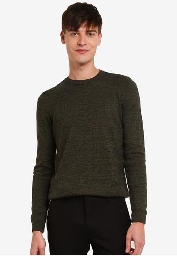 Topman green Khaki And Black Twist Jumper TO413AA0S5LFMY_1