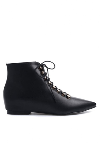 Twenty Eight Shoes black Pointy Lace Up Ankle Boot 669-1 TW446SH49DHAHK_1
