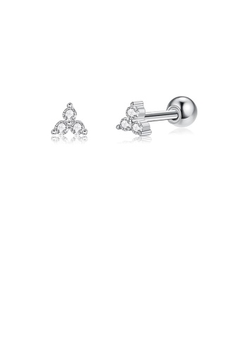 Glamorousky white 925 Sterling Silver Simple Cute Geometric Triangle Stud Earrings with Cubic Zirconia 3ACFBACD0B5988GS_1