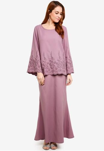 BYN purple Baju Kurung Modern 1FD41AA44857D3GS_1