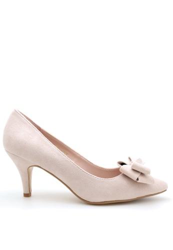 PRODUIT PARFAIT pink Suede Bow Stiletto Heel Pumps F537DSH0EA97DFGS_1