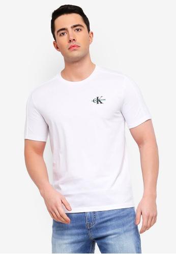 796051b959e35b Calvin Klein white Monogram Chest Logo Short Sleeve Tee - Calvin Klein Jeans  BBF56AAE4E6458GS_1. CLICK TO ZOOM
