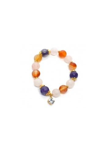 Shinju Pearls pink and orange and purple SHINJU PEARLS-Amethyst Carnelian Rose Quartz Bracelet (Assorted Charms) C17D0AC296A354GS_1